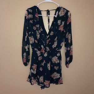 Romper- Navy blue with flowers